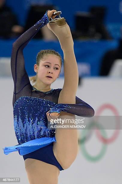 Russia's Julia Lipnitskaia performs in the Women's Figure Skating Team Short Program at the Iceberg Skating Palace during the 2014 Sochi Winter...