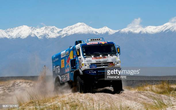 Russia's Kamaz's driver Airat Mardeev and codrivers Aydar Belyaev and Dmitry Svistunov compete during the Stage 10 of the Dakar 2018 between Salta...