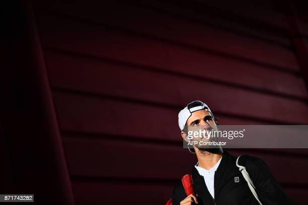 Russia's Karen Khachanov arrives for a men's singles tennis match during the first edition of the Next Generation ATP Finals in Milan on November 8...