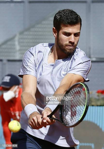 Russia's Karen Khachanov is pictured during his Madrid Open first-round match against Kei Nishikori of Japan on May 4 in Madrid, Spain.