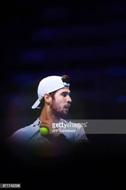 Russia's Karen Khachanov reacts after a point against US' Jared Donaldson during their men's singles tennis match of the first edition of the Next...