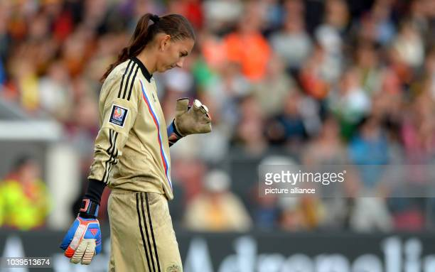 Russia's keeper Yulia Grichenko is pictured during the qualifying match for the FIFA World Cup between Germany and Russia at Stadion der Freundschaft...