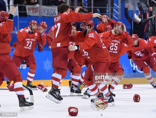 Russia's Kirill Kaprizov celebrates scoring the game winning goal in the men's gold medal ice hockey match between the Olympic Athletes from Russia...