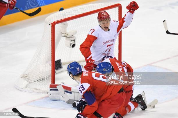 Russia's Kirill Kaprizov reacts in front of the Czech Republc goal in the men's semifinal ice hockey match between the Czech Republic and the Olympic...