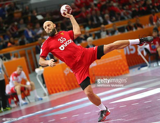 Russia's Konstantin Igropulo attempts a shot on goal during the 24th Men's Handball World Championships preliminary round Group D match between...