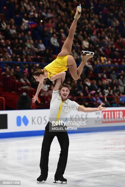 Russia's Kristina Astakhova and Alexei Rogonov perform on March 22 2018 during the Pairs Free figure skating at the Milano World League Figure...