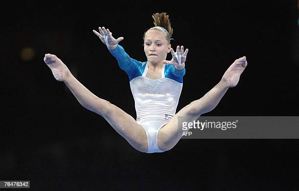 Russia's Ksenia Semenova performs on the uneven bars during the women's qualifications of the 40th World Artistic Gymnastics Championships 02...