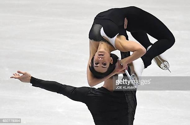 TOPSHOT Russia's Ksenia Stolbova and Fedor Klimov compete during the pairs free skating competition of the European Figure Skating Championship in...