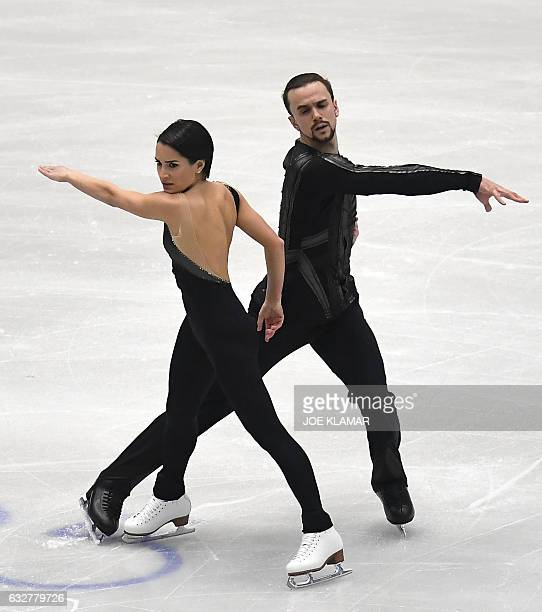 Russia's Ksenia Stolbova and Fedor Klimov compete during the pairs free skating competition of the European Figure Skating Championship in Ostrava...