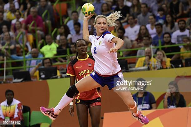 Russia's left wing Polina Kuznetsova jumps to shoot during the women's quarterfinal handball match Russia vs Angola for the Rio 2016 Olympics Games...