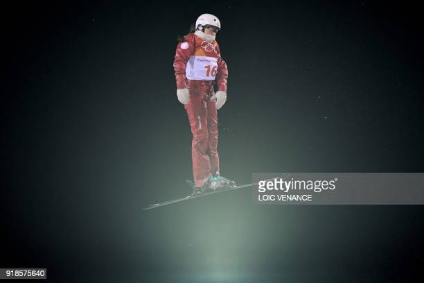 Russia's Liubov Nikitina competes in the women's aerials qualification event during the Pyeongchang 2018 Winter Olympic Games at the Phoenix Park in...