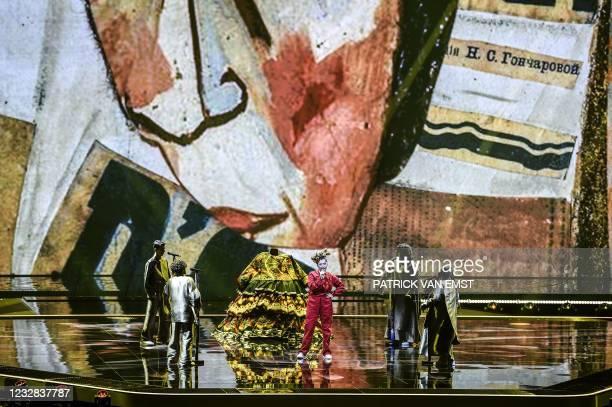 Russia's Manizha is seen on stage during the second rehearsal for the first semifinal of the Eurovision Song Contest in Rotterdam on May 12 which...