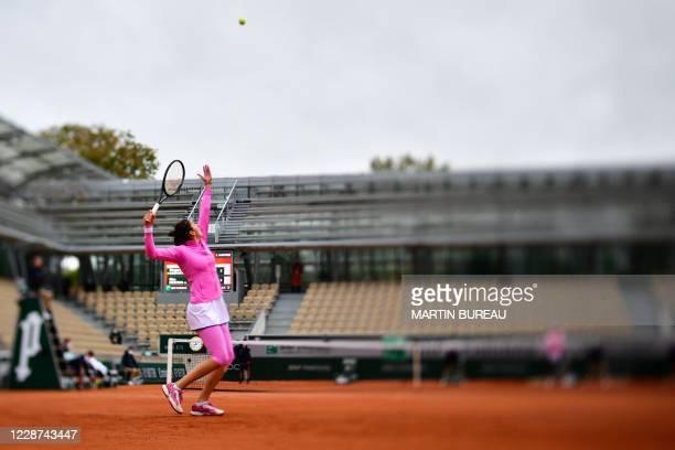 Russia's Margarita Gasparyan returns the ball to Belgium's Elise Mertens during their women's singles first round tennis match at the Simonne Mathieu...
