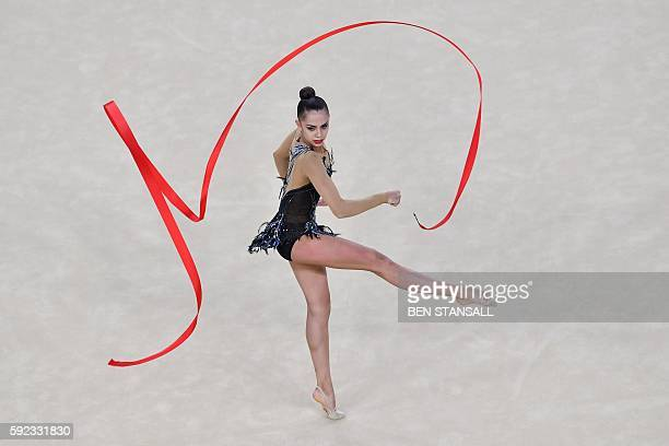 Russia's Margarita Mamun competes in the individual allaround final event of the Rhythmic Gymnastics at the Olympic Arena during the Rio 2016 Olympic...