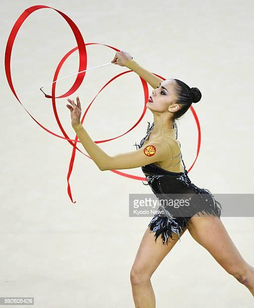 Russia's Margarita Mamun performs during the rhythmic gymnastics individual allaround final at the Rio de Janeiro Olympics on Aug 20 2016 Mamun won...