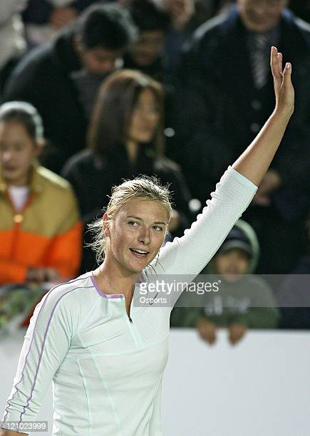 Russia's Maria Sharapova after the Gold Group single's semifinal match between Maria Sharapova and Elena Dementieva in the Watsons Water Champions...
