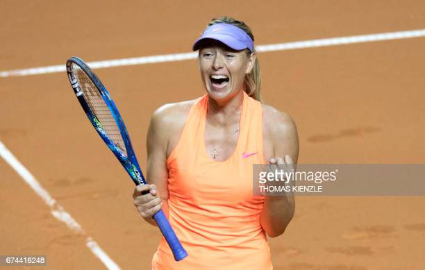 TOPSHOT Russia's Maria Sharapova celebrates after she defeated Estonia's Anett Kontaveit in the quarterfinal match at the WTA Tennis Grand Prix in...