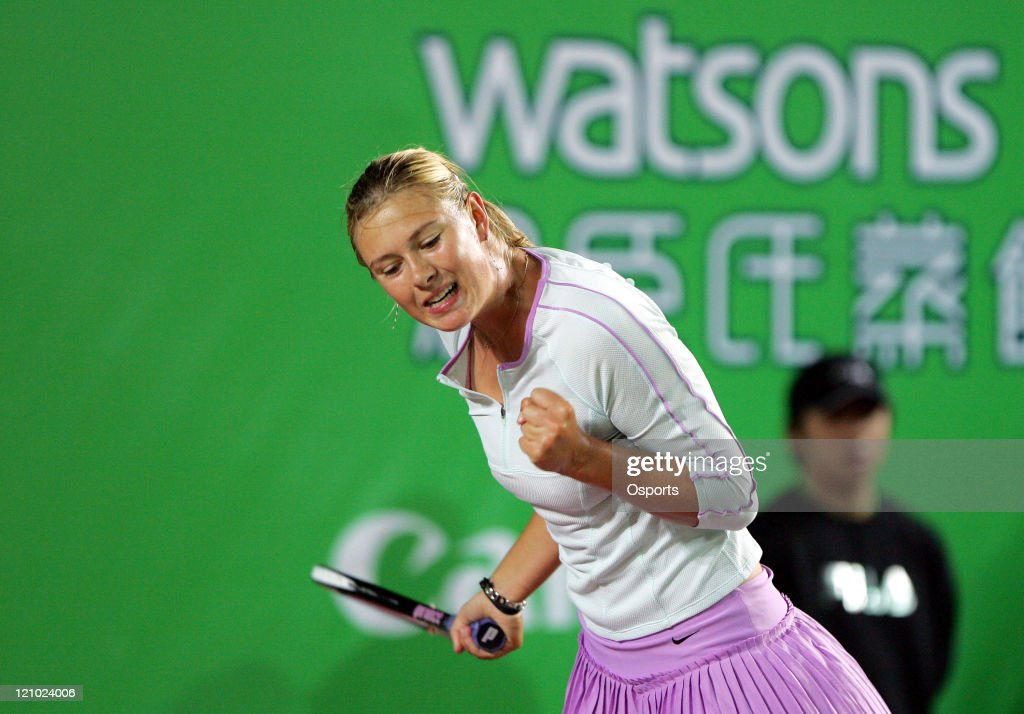 Russia's Maria Sharapova in action during the Gold Group single's semifinal match between Maria Sharapova and Elena Dementieva in the Watsons Water Champions Challenge 2007 in Hong Kong, China on January 5, 2007.