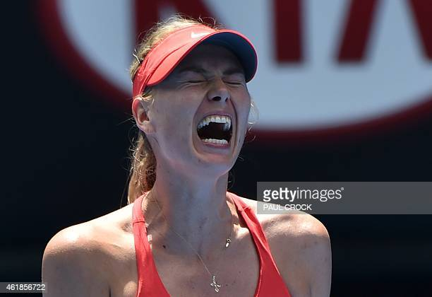 Russia's Maria Sharapova reacts during her women's singles match against Russia's Alexandra Panova on day three of the 2015 Australian Open tennis...