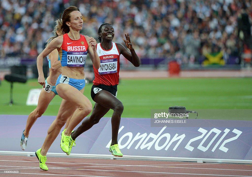 Russia's Mariya Savinova and Burundi's F : News Photo