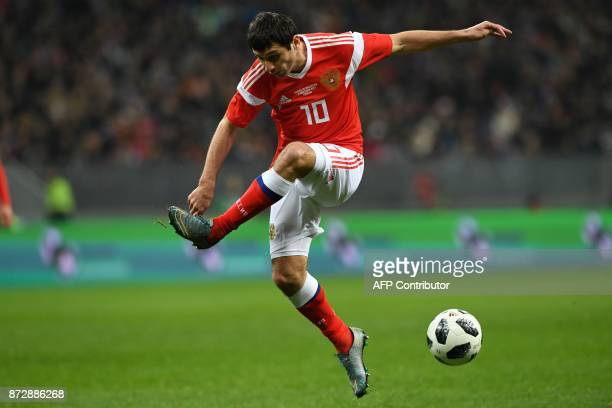 Russia's midfielder Alan Dzagoev in action during an international friendly football match between Russia and Argentina at the Luzhniki stadium in...