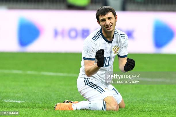 Russia's midfielder Alan Dzagoev reacts during an international friendly football match between Russia and Brazil at the Luzhniki stadium in Moscow...