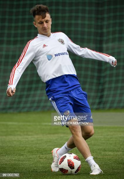 Russia's midfielder Aleksandr Golovin attends a training session in Novogorsk outside Moscow on July 4 ahead of the 2018 World Cup quarterfinal...