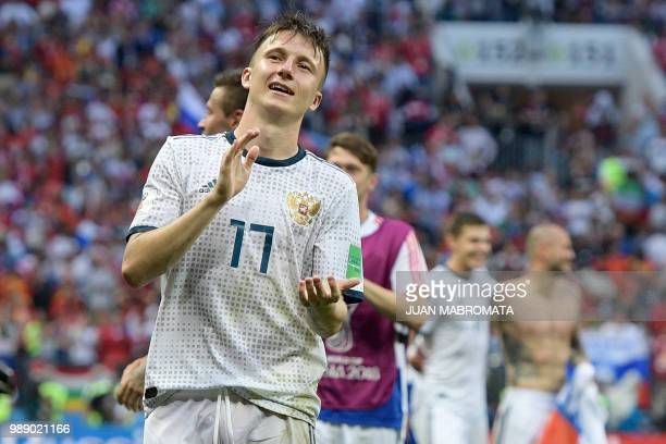 Russia's midfielder Aleksandr Golovin celebrates after the penalty shootout at the end of the the Russia 2018 World Cup round of 16 football match...