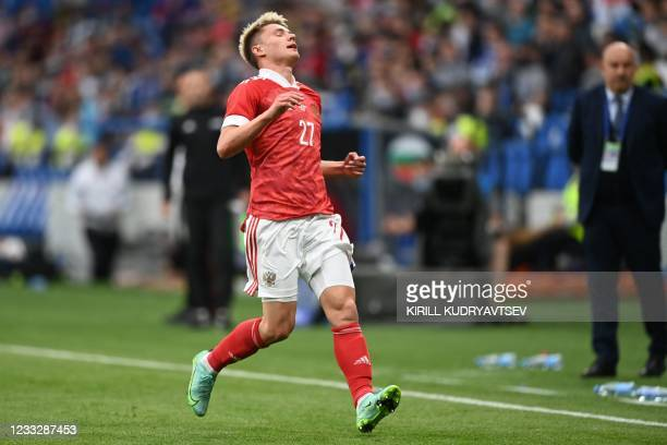Russia's midfielder Andrey Mostovoy reacts during the friendly football match Russia v Bulgaria in Moscow on June 5 in preparation for the UEFA...