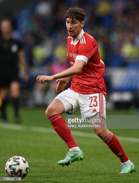 Russia's midfielder Daler Kuzyayev controls the ball during the friendly football match Russia v Bulgaria in Moscow on June 5 in preparation for the...