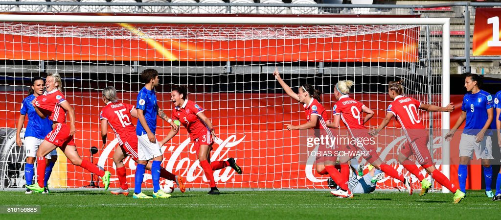Russia's midfielder Elena Morozova (2nd L) celebrates with teammates after scoring during the UEFA Women's Euro 2017 football tournament match between Italy and Russia at Stadium Sparta Rotterdam in Rotterdam on July 17, 2017. /