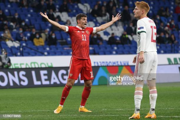 Russia's midfielder Roman Zobnin reacts during the UEFA Nations League football match between Russia and Hungary at Moscow's VTB Arena on October 14,...