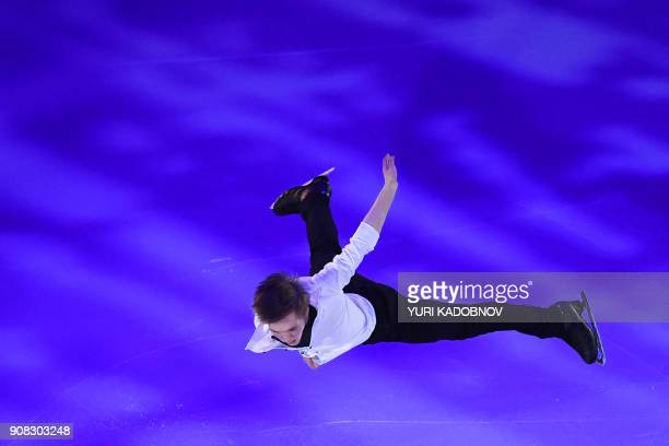 TOPSHOT Russia's Mikhail Kolyada performs during the Gala Exhibition at the ISU European Figure Skating Championships in Moscow on January 21 2018 /...
