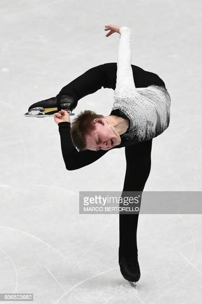 Russia's Mikhail Kolyada performs during the Men's figure skating short program at the Milano World League Figure Skating Championship 2018 in Milan...