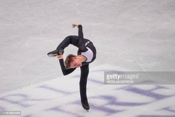 Russia's Mikhail Kolyada performs in the mens short program during the world figure skating championships in Japanese city of Saitama on March 21 2019