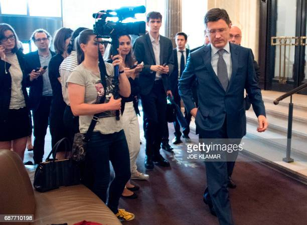 Russia's Minister of Energy Alexander Novak arrives at the hotel in Vienna Austria on May 24 2017 on the eve of the Organization of the Petroleum...