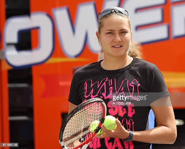 Russia's Nadia Petrova looks on as she plays against tennis students on May 20 2008 during a show at Kalyon Shopping Mall in Istanbul Petrova is in...