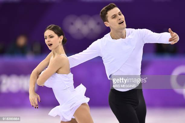 Russia's Natalia Zabiiako and Russia's Alexander Enbert compete in the pair skating free skating of the figure skating event during the Pyeongchang...