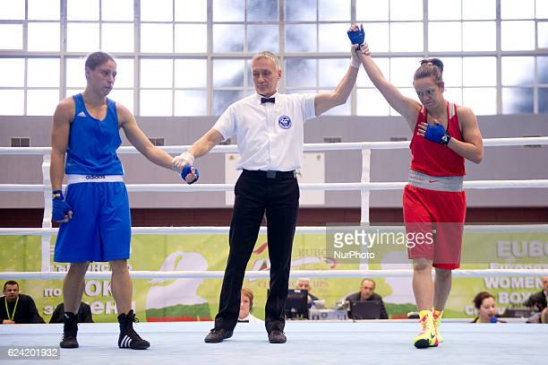 Russia's Natalya Sumokina during the EUBC European Womens Boxing Championships Sofia 2016 game between Russia's Natalya Sumokina and Romania's...