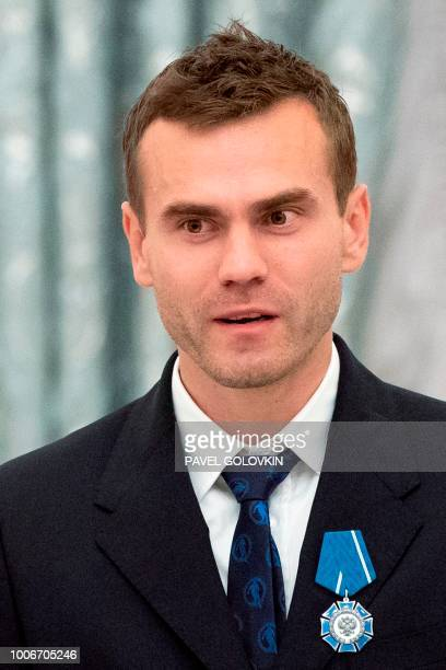 Russia's national football team goalkeeper Igor Akinfeev attends an awards ceremony for the team at the Kremlin in Moscow on July 28 2018 Russia...