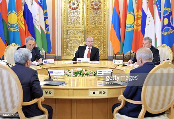 Russia's newlyinaugurated President Vladimir Putin takes part in a summit of the leaders exSoviet states members of the Collective Security Treaty...