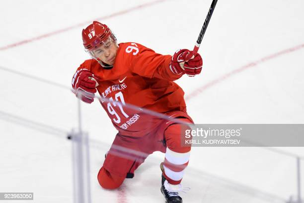 Russia's Nikita Gusev celebrates scoring in the men's gold medal ice hockey match between the Olympic Athletes from Russia and Germany during the...