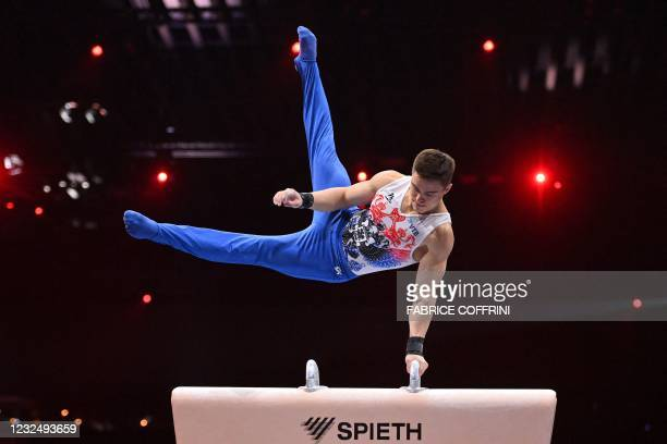 Russia's Nikita Nagornyy competes in the Men's pommel horse apparatus final of the 2021 European Artistic Gymnastics Championships at the St...