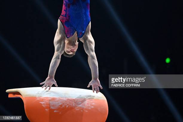 Russia's Nikita Nagornyy competes in the Men's vault qualifications during European Artistic Gymnastics Championships at the St Jakobshalle, in...