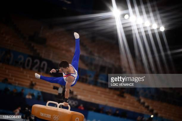 Russia's Nikita Nagornyy competes in the pommel horse event of the artistic gymnastics men's team final during the Tokyo 2020 Olympic Games at the...