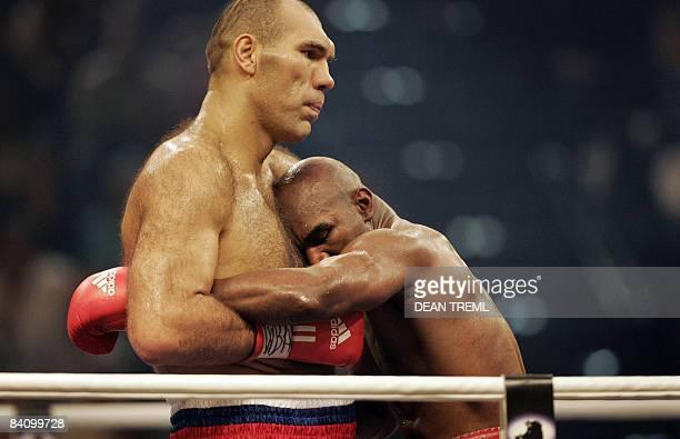 Russia's Nikolai Valuev fights against US Evander Holyfield for the WBA heavyweight title on December 20, 2008 at Hallenstadion in Zurich. Valuev...