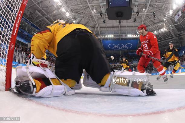 Russia's Pavel Datsyuk celebrates winning after a goal was scored in the men's gold medal ice hockey match between the Olympic Athletes from Russia...