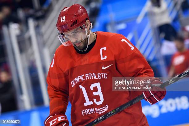 Russia's Pavel Datsyuk looks down in the men's gold medal ice hockey match between the Olympic Athletes from Russia and Germany during the...