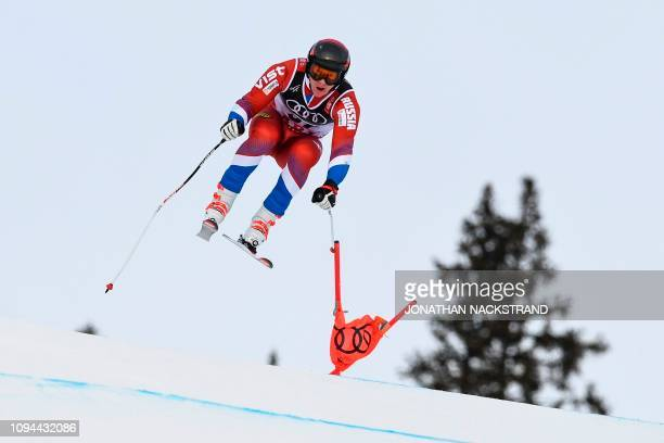Russia's Pavel Trikhichev competes in the men's Super G event at the 2019 FIS Alpine Ski World Championships at the National Arena in Are, Sweden, on...