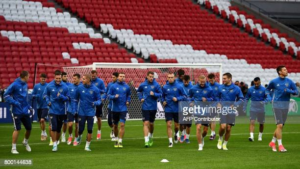 Russia's players attends in a training session the Kazan arena stadium in Kazan on June 23 2017 on the eve of the Russia 2017 FIFA Confederations Cup...